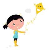 Little cute girl Flying Kite. Cute little Child flying Kite. Vector cartoon illustration Stock Images