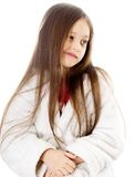 Little cute girl  grimacing. Little cute girl with long hair grimacing Stock Image