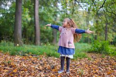 Little cute girl having fun in wonderful autumn Royalty Free Stock Photos