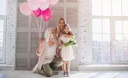 Daughter, mother and grandmother at home Royalty Free Stock Images