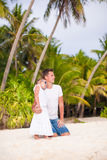 Little cute girl and her father on tropical exotic Royalty Free Stock Photo