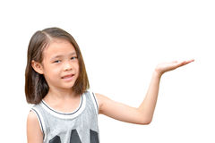 Little cute girl holding something Royalty Free Stock Photo