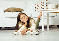 Little cute girl at home smiling Royalty Free Stock Image