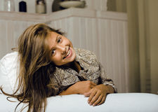 Little cute girl at home smiling Royalty Free Stock Photography