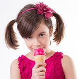 Little cute girl with ice cream Royalty Free Stock Images