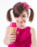 Little cute girl with ice cream over white Stock Image
