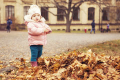 Little cute girl kid having fun in park in autumn warm clothes ( stock photos