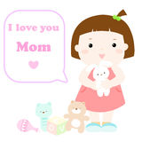 Little cute girl love mom card. Illustration Stock Photo