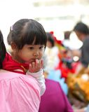 Little cute girl in mother hold Stock Photos