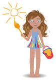 Little cute girl paint sun Stock Photography