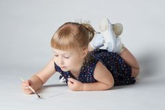 Little cute girl painting Royalty Free Stock Image
