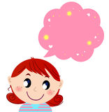 Little cute girl with pink dreaming bubble Royalty Free Stock Images