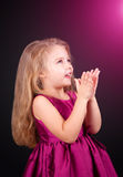 Little cute girl in a pink dress Royalty Free Stock Photography