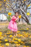 Healthy Little cute girl in pink dress  with yellow flowers. Royalty Free Stock Photography