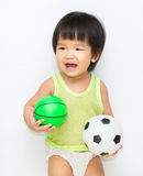 Little cute girl play sport Royalty Free Stock Photo