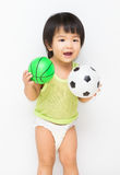 Little cute girl play sport Stock Photos