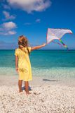 Little cute girl playing with flying kite  Stock Image