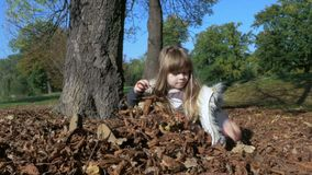 Little cute girl playing outdoors in autumn park. stock video footage