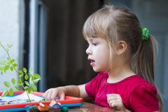Little cute girl playing table play outside Royalty Free Stock Photo