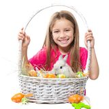 Little cute girl and rabbit Stock Photo