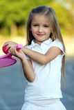 Little  Cute  girl with racket Royalty Free Stock Image