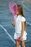 Little  Cute  girl with racket Royalty Free Stock Images
