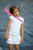 Little  Cute  girl with racket Royalty Free Stock Photography