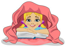 Little cute girl reading a book in bed under blanket. Little cute girl reading a book in bed under pink blanket Stock Photos