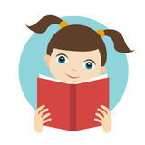 Little cute girl reading a book. Stock Photography