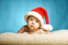 Little cute girl with santa hat Royalty Free Stock Photography