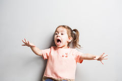 Little cute girl screaming or scearing Royalty Free Stock Photo
