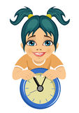 Little cute girl showing arrows on the wall clock Stock Photography