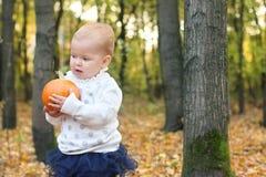 Little cute girl in skirt holds orange pumpkin Stock Photos