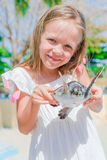 A little cute girl with a small turtle in her hands in the reserve Stock Photography