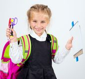 Little cute girl with a stationery Stock Photography