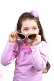 Little cute girl in sunglases isolated. On white background royalty free stock photos