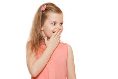 Little cute girl surprised closing her mouth, isolated on white background Stock Photography