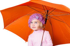 Little cute girl with an umbrella isolated on white background Royalty Free Stock Image