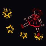 Little cute girl walking on the stars, black background stock illustration