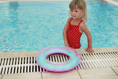 Little cute girl in water pool Royalty Free Stock Photo