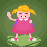 A cheerful first grader in a pink dress with a backpack waving her hand Stock Photography