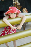 Little cute girl wearing panama Stock Images