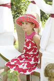 Little cute girl wearing spotted panama Royalty Free Stock Photo