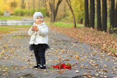 Little cute girl in white stands near red rowanberry Royalty Free Stock Photos