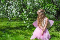 Free Little Cute Girl With Butterfly Wings In Royalty Free Stock Photo - 40844285