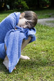 Little cute girl wrap up in towel Royalty Free Stock Photos