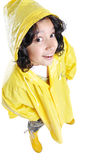 Little cute girl with yellow hood Royalty Free Stock Photos