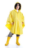 Little cute girl with yellow hood Stock Photography
