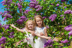 Little cute girls outdoorsat beautiful blossoming Stock Photography