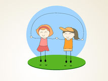 Little cute girls playing rope with holding together. Royalty Free Stock Images